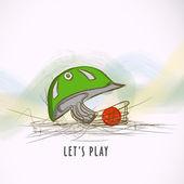 Batsman helmet with ball for Cricket. — Stock Vector
