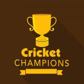 Golden winning trophy for Cricket Champions. — Stock Vector