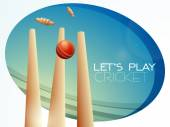 Red ball with wicket stumps for Cricket. — Stock Vector