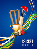 Cricket sports concept with match kit. — Stockvector