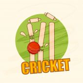 Red ball with cracked wicket stumps for Cricket. — Stock Vector