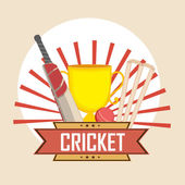 Cricket sports concept with trophy and match kit. — Stock Vector