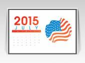 Monthly calendar of July 2015. — Stock Vector