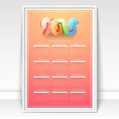 Yearly 2015 calendar for Happy New Year celebration.  — Stock vektor