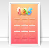 Yearly 2015 calendar for Happy New Year celebration.  — Stockvector