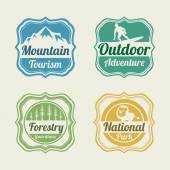 Badge, label and sticker for tourism. — Stock Vector