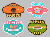 Badge, label and sticker for dessert shop. — Stock Vector