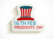 American Presidents Day celebration sticker with hat. — Stock Vector