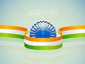 Shiny Ashoka Wheel with stripes for Republic Day. — Stock Vector