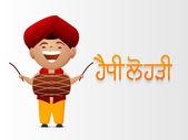 男の子とパンジャブ語祭り、幸せ Lohri 祭典. — ストックベクタ