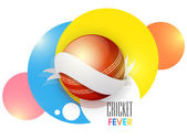 Shiny red ball for Cricket Fever. — Stock Vector