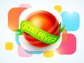Red ball with green ribbon for Cricket Fever. — Stock Vector