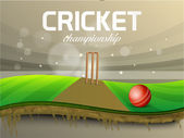 Red ball with wicket stump for Cricket Championship. — Stock Vector