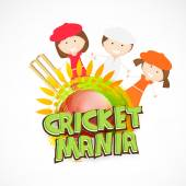Cute kids with wicket stumps and ball for Cricket. — Stock Vector