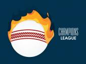 Ball in fire for Cricket Champions League. — Stock Vector