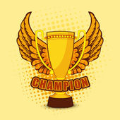Champion trophy with wings for Cricket. — Stock Vector