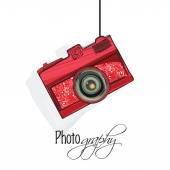 Concept of photographic camera. — Stock Vector