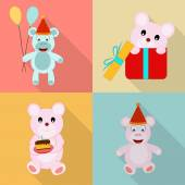 Concept of birthday icons with teddy. — Stockvektor