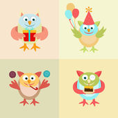 Quattro icone colorate galline divertenti. — Vettoriale Stock
