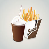 Disposable cup with straw and french fries. — Stock Vector
