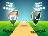 India vs Pakistan cricket match concept. — Stock Vector