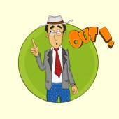 Cricket umpire showing out. — Stock Vector