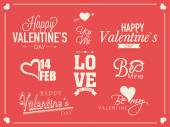 Typographic collection for Happy Valentines Day celebration. — Vector de stock