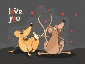 Cute rat couple for Happy Valentines Day celebration. — Wektor stockowy