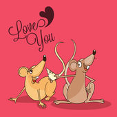 Cute rat couple for Happy Valentines Day celebration. — Stock Vector