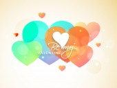 Happy Valentines Day celebration with colorful hearts. — Stock Vector