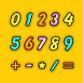 Numbers with maths symbol. — Stock Vector