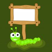 Concept of centipede with blank wooden board. — Stock Vector