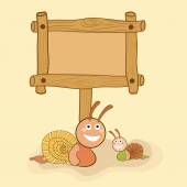 Concept of snails with blank wooden board. — Stock Vector