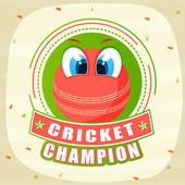 Cricket sports concept with red ball. — Vecteur