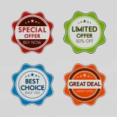 Badge, label and sticker for special offer. — Stock Vector