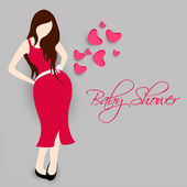 Concept of young pregnant lady for baby shower. — Stock Vector