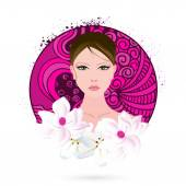International  Women's Day celebration with young girl face. — Stock Vector