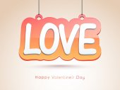 Hanging stylish text for Valentines Day celebration. — Stock Vector
