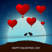 Happy Valentines Day celebration with red balloon. — Stock vektor