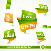 Tags, ribbon and label for Happy St. Patrick's Day. — Stock Vector