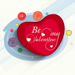 Happy Valentines Day celebration with red heart. — Stock Vector #63362199