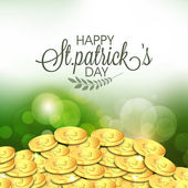 Happy St. Patrick's Day celebration with gold coins. — Stock Vector