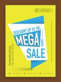 Mega sale flyer, banner or template. — Stock Vector