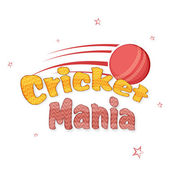Cricket sports concept with red ball. — Stockvektor