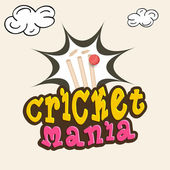 Cricket mania concept with wicket and ball. — Stock Vector