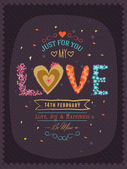 Greeting card design for Happy Valentines Day celebration. — Stockvektor