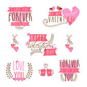 Typographic collection for Happy Valentines Day. — Vector de stock