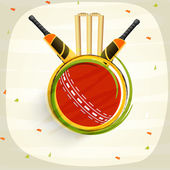 Bats with ball and wicket stumps for Cricket. — Stock Vector
