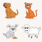 Set of domestic animal Characters. — Stock Vector