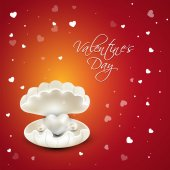 Glossy shell for Happy Valentines Day celebration. — Stock Vector